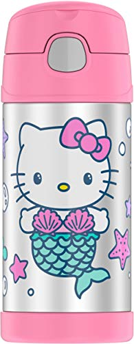 THERMOS FUNTAINER 12 Ounce Stainless Steel Vacuum Insulated Kids Straw Bottle, Hello Kitty