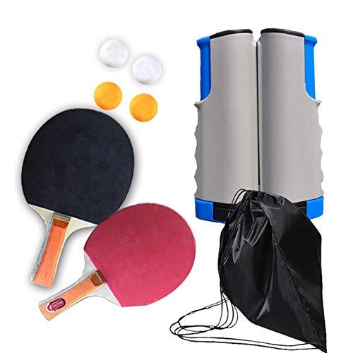 Draagbare tafeltennisset, pingponguitrusting met 2 rackets, 4 ballen en een uitschuifbaar net voor binnen- en buitenspellen voor school, familie, kantoorsporten