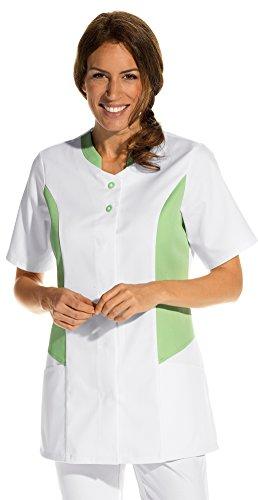 clinicfashion 10112053 Kurzkasack weiß/hellgrün für Damen, Mischgewebe, Größe 36
