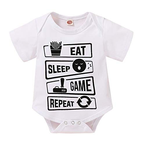 I'm Proof Daddy Does Not Play Video Games All The Time Baby Girls Boys Romper Bodysuit (Eat Sleep Game Repeat-Short Sleeve, 0-3 Months)