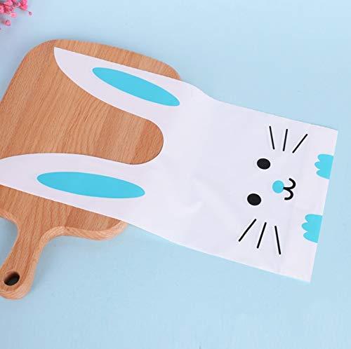 ウサギのかわいいギフトバッグ 選べるカラーとサイズ 100枚 ビニール袋 レジ袋 イベント袋 お菓子袋 MINAKIKO (青うさぎ2, M)