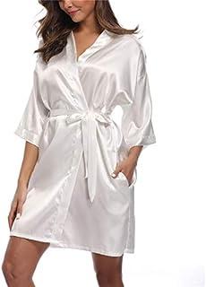 Women's Satin Kimono Robes Bridesmaid Wedding Robes Silky Bathrobes Loungewear White