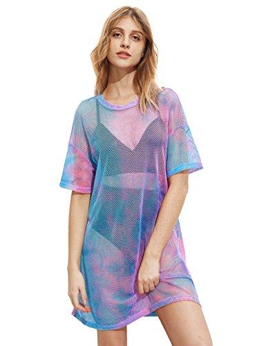 MakeMeChic Women's Beach Cover Ups Short Sleeve See Through Sheer Mesh Short Dress A Multi M