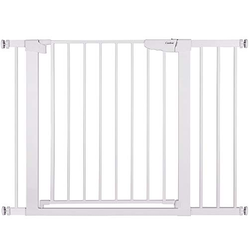 "Cumbor 43.3"" Auto Close Safety Baby Gate, Extra Tall and Wide Child Gate, Easy Walk Thru Durability Dog Gate for The House, Stairs, Doorways. Includes 4 Wall Cups, 2.75-Inch and 8.25-Inch Extension"