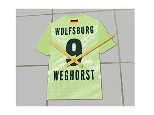Fußball-Uhr, Bundesliga-Trikot-Uhr– personalisierbar, VfL Wolfsburg Bundesliga Football shirt clock