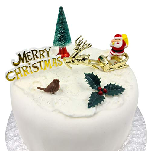 Christmas Cake Decorations Toppers (5 Piece Set) Snowman Cupcake Topper Cake Decoration Pieces Merry Christmas (5 pc)