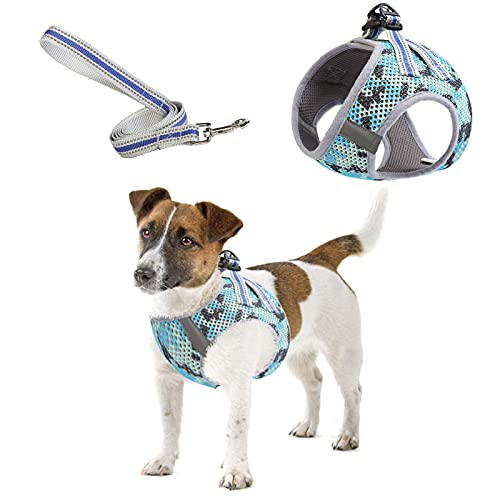 Dog Harness with Leash, Camouflage Soft Mesh Adjustable Vest Breathable Lightweight Pet Puppy Cat Chest Strap Walking Lead with Pulling Rope Hook Loop, Reflective No Pull Step-in Outdoor Harness