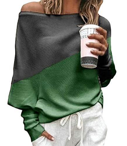 Smccvnvbv Women's Autumn Color Block Top Blouse Long-Sleeve T-shirt