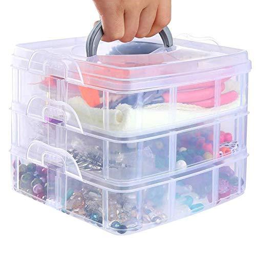 Caja de clasificación de piezas pequeñas,Cajas de plástico transparente ajustables,Caja de almacenamiento de piezas pequeñas,Caja de plástico transparente, (transparente)