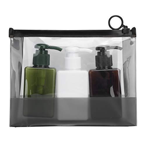 Botella vacía de viaje de 3 piezas de plástico con bolsa de almacenamiento Juego de botellas de viaje portátiles para champú cosmético y loción de jabón