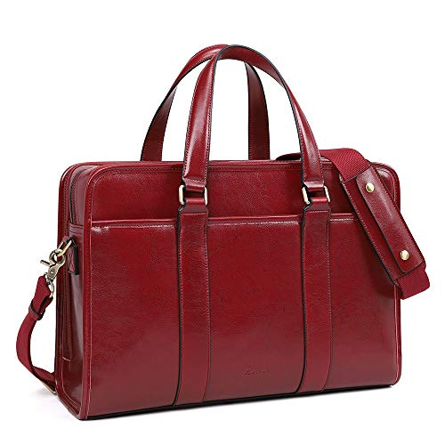 Kattee Vintage Genuine Leather Briefcase Bag for Women, 15.6 Inch Laptop Briefcase for Men, Unisex Messenger Bags Fashionable Shoulder Computer Case Work Bag, Red