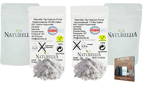 Naturellia 20g Vegan Hyaluronsäure Pulver pur Duo hochdosiert 10g Hyaluron Pulver Niedermolekular & 10g Hyaluron Pulver Hochmolekular für Kosmetik Serum Creme Herstellung