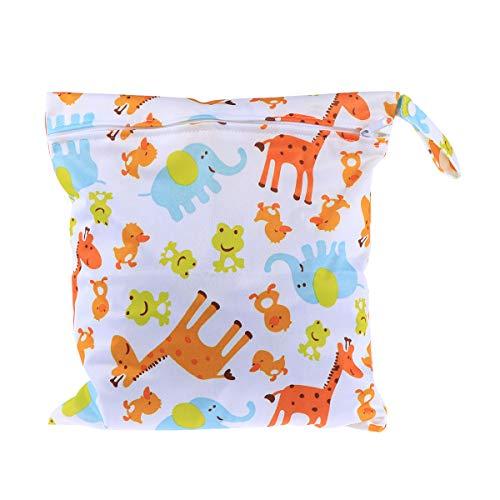 Pixnor Giraffa carino modello animale bambino con cerniera impermeabile riutilizzabile lavabile panno pannolino Nappy Bag bagnato asciutto borsa Tote con impugnatura morbida di schiocco (bianco)
