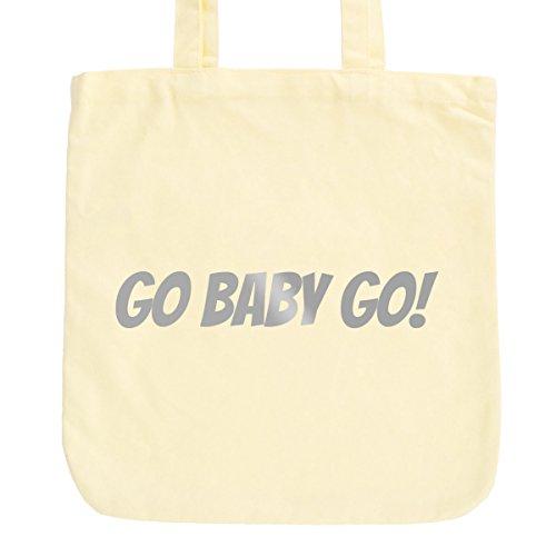 JUNIWORDS Jutebeutel, Pastellfarben, Go Baby Go, Tasche: Pastellgelb, Schrift: Silber