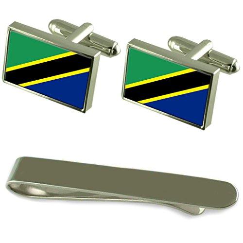 Select Gifts Tansania Fahne Silber Manschettenknöpfe Krawatten Geschenkset mit Gravur
