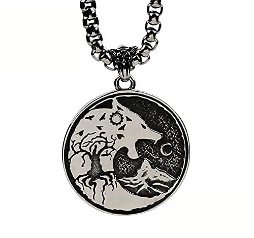 WTZWY Colgante Lobo Redondo de Metal Collar Brujo, Vikingo Fenrir Céltico Gruñido Lobo Escultura...