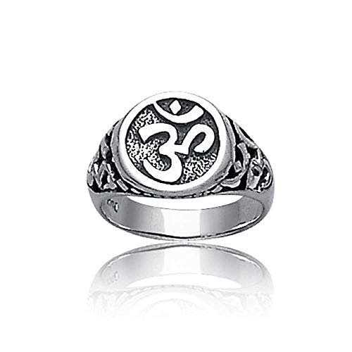 Spirituelle Religiöse Yogi Zeichen Sanskrit Aum Ohm Om Siegelring Für Damen Für Herren 925 Sterling Silber Oxidiert