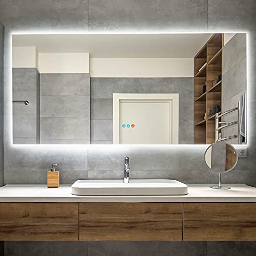 """Homedex 60""""x 28"""" Backlit Bathroom Mirror LED Vanity Mirror with 3 Colors Light, Dimmable Touch Switch Control, Anti-Fog Wall Mounted Makeup Mirror for Wall (Horizontal/Vertical)"""