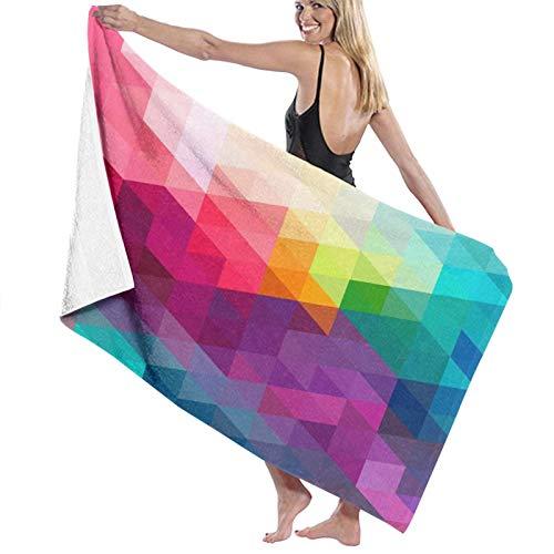 NANITHG Telo Mare Microfibra Antisabbia 80x130 cm Triangoli geometrici colorati astratti e forme di poligoni Asciugamano da Spiaggia Asciugatura Rapida per Palestra,Nuoto,Campeggio