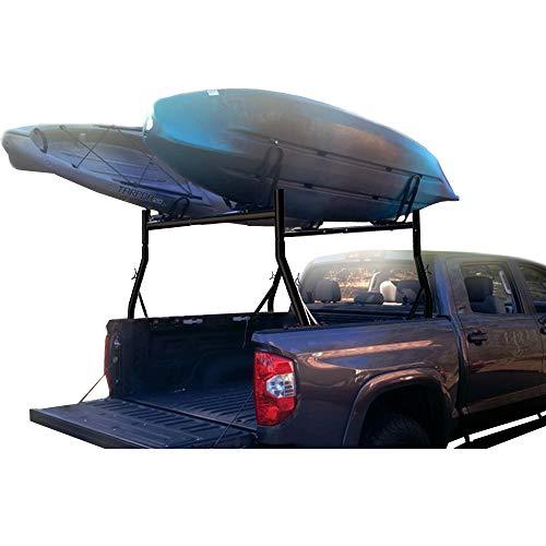 800lbs Capacity Heavy Duty Extendable Universal Pickup Truck Rack Ladder Rack with 2 Sets Kayak J Racks Two-bar Set Matte Black One Pair