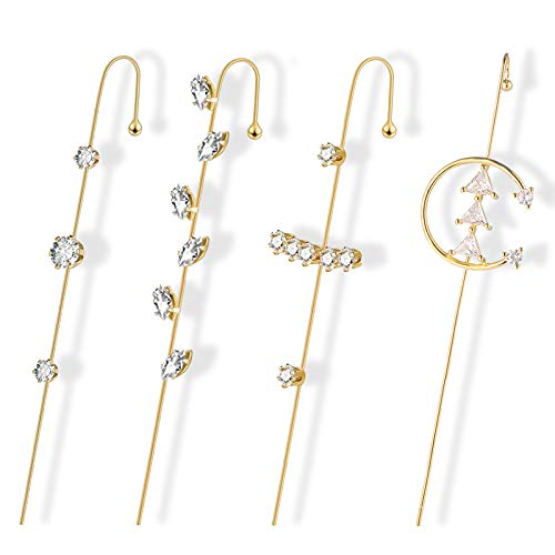 4pcs Ear Cuff Crawler Hook Earrings Piercing Ear Wrap Gold Pearl Cubic Zirconia Hoop Earrings Gift for Women Girls