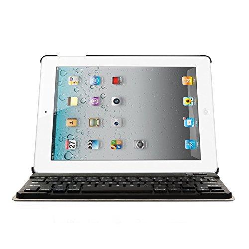 CoastaCloud Custodia in pelle per iPad 2, iPad 3, iPad 4, con tastiera senza fili Bluetooth 3.0, tastiera francese AZERTY