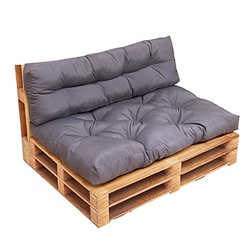 RACE LEAF Euro Pallet cojín asiento respaldo banco cojines juego de cojín para muebles con asiento y respaldo para oficina interior y exterior, gris oscuro (asiento y cojín de respaldo)