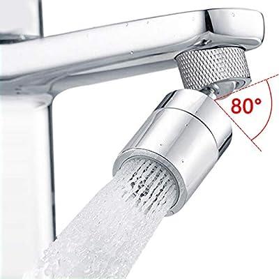 Hibbent Dual-function Female Faucet Aerator, 1.8 GPM Extra Big Angle Rotate Kitchen Sink Aerator Sprayer Head 360 Degree Swivel Kitchen Sink Sprayer Attachment-55/64 Inch-27UNS Female Thread-Chrome