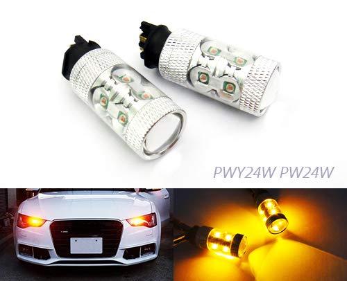 RZG Amber PWY24W PW24W Lot de 2 ampoules LED 50 W pour feux de circulation diurnes A3 A4 F30 F34 C4 208 Golf