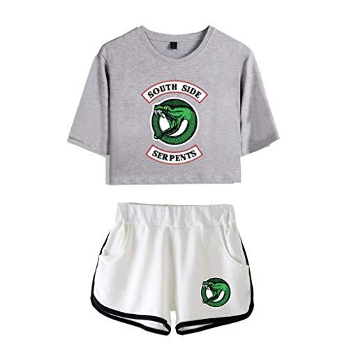 Memoryee Memoryee Druck Crop Top T-Shirts und Shorts Kleidung Zweiteiler für Mädchen und Frauen Sportbekleidung Suit 5 S