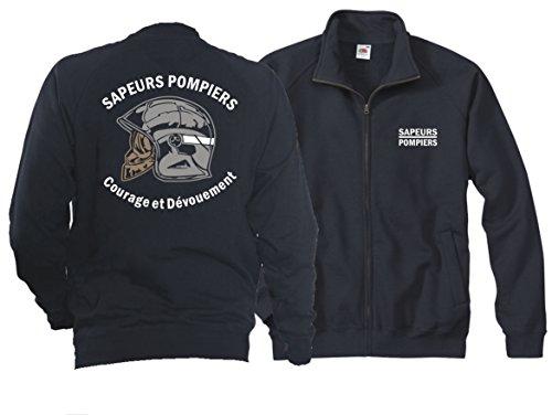 feuer1 Veste sweat (Navy/Bleu Marine) Sapeurs Pompiers Casque - Courage et Dévouement - Marque Blanc XXL