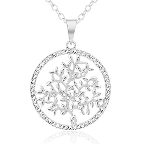 Otoño / Invierno suéter moda colgante árbol vida collar para mujer joyería afortunadamente regalo-acero color_50CM