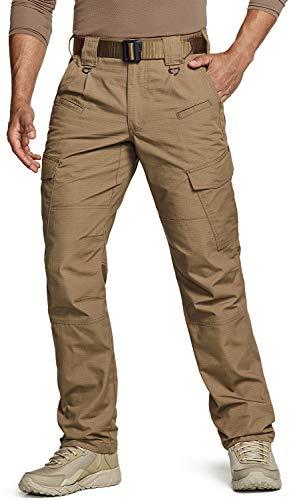 CQR Men's Tactical Pants, Water Repellent Ripstop Cargo Pants, Lightweight EDC Hiking Work Pants, Outdoor Apparel, Duratex Coyote, 36W x 32L