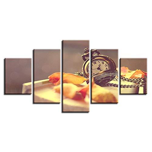 5 Piezas Cuadros Modernos de Imagen Artística Cuadro sobre Lienzo Hojas y reloj de bolsillo Poster HD Print De Decoración para El Hogar-Sin Marco 150 X 80 cm