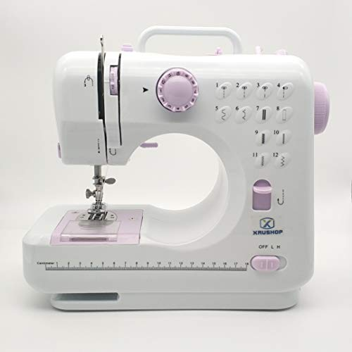 Portable Basic Mini Adults Kids Sewing Machine for Beginners with 12 Easy Stiching Patterns, with Foot Pedal