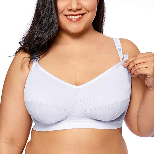 Gratlin Women's Plus Size Wirefree Cotton Maternity Nursing Bra Softcup Supportive White 42E