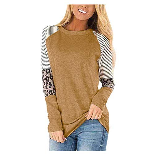 iFRich Damenpullover, Leopardenmuster, langärmlig, Rundhalsausschnitt, Baggy, lässig, Top, Bluse, T-Shirt, S-L5 Gr. 40, braun
