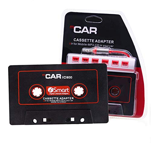 Car Audio Cassette to Aux Adapter, Audio Stereo Receiver, 3.5 mm Universal Audio Cable Tape Adapter for Classic Cars, Compatible with Phone, MP3