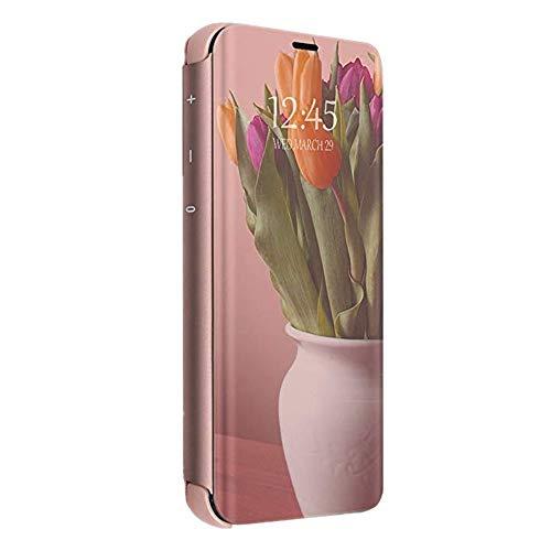 Compatibel iPhone 11 Pro 2019 hoes spiegel telefoonhoes lederen hoes PU + harde schaal PC flip klaphoezen Clear-View Mirror Case met statieffunctie Transparant Cover telefoonhoes