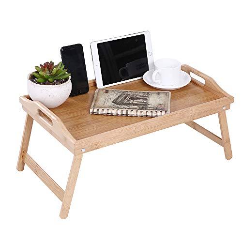 KKTONER Bandeja de cama plegable puede servir el desayuno en la cama o usarse como bandeja mesa de TV bandeja para computadora portátil
