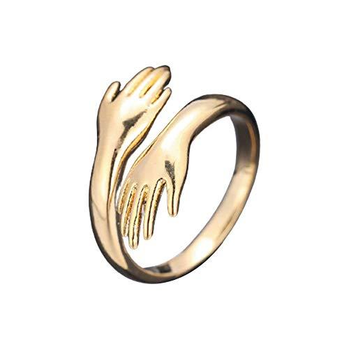 Umarmungsring, 2 Stück, goldfarben, offener Ring, verstellbar, umarmende Hände, offener Ring, Schmuck für Damen und Herren, Paare, Hochzeitsring