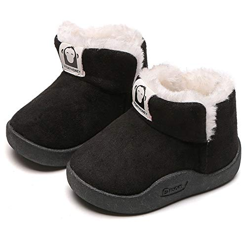 Comeni Toddler Boy's Girl's Snow Boots Fur Lined Warm Winter Boots Kids Outdoor Anti-Slip Ankle Boots D12 Black Toddler 7.5/20