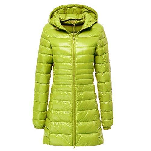 ZWHDS vrouwen effen kleur donsjack lange capuchon vest rits slank slank opvouwbaar dragen warm donsjack grote maat jas