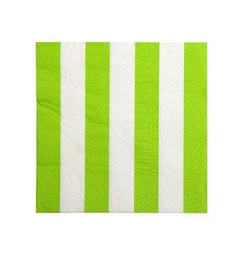 Chal - Serviette en Papier Vert anis à Rayures Blanches