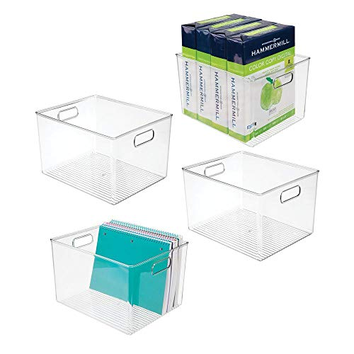 mDesign Plastic Storage Container Bin with Carrying Handles for Home Office, Filing Cabinets, Shelves - Organizer for School Supplies, Pens, Pencils, Notepads, Staplers, Envelopes, 4 Pack - Clear