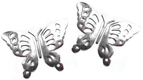 PRESKIN – 3D Schmetterling Chrom Silber Aufkleber Selbstklebende Metall-Optik Relief-Sticker Decal für Auto, KFZ, Motorrad, Roller, Notebook, Haustür, Kühlschrank …
