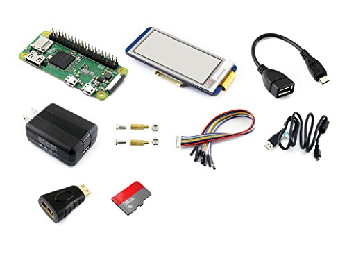 Waveshare Raspberry Pi Zero WH Built-in WiFi pre-soldered Headers Development Kit Type E TF Card Power Adapter 2.13inch e-Paper Hat and Basic Components