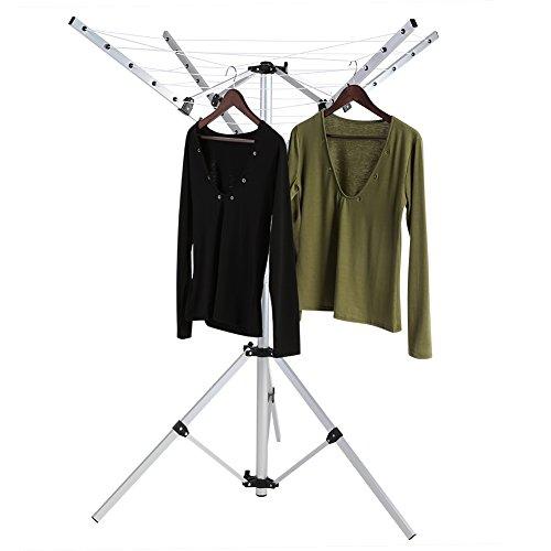Cocoarm Tendedero giratorio para exteriores, con múltiples ganchos de pie, plegable, resistente, 4 brazos y 3 patas, secador de ropa de jardín para secar ropa al aire libre