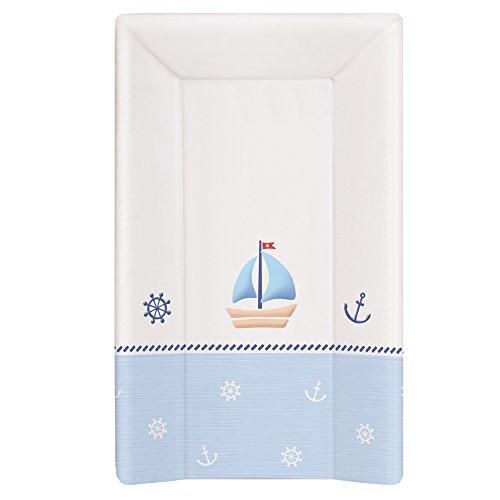 Wickelauflage Wickelunterlage Wickeltischauflage 2 Keil und Kopfteil Feste 80x50 cm Abwaschbar für Mädchen und Junge - Weiß-Blau 80 x 50 cm