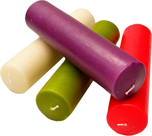 Advent candles in four liturgical colours (5 x 15 cm)